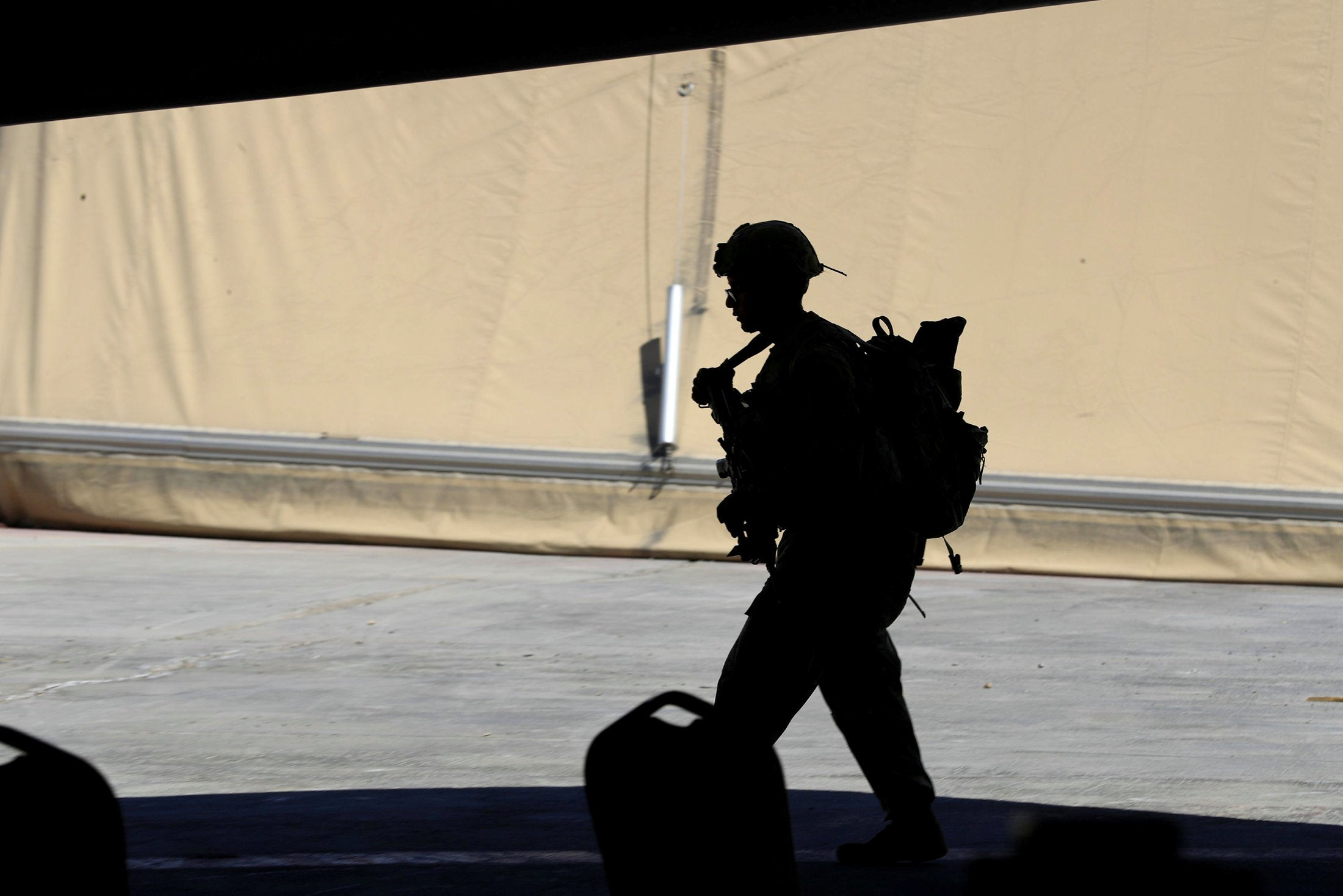 A soldier on a U.S. base north of Baghdad, August 2020.