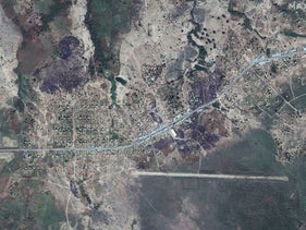 An overview of Dansha airport and destroyed buildings in Dansha, Ethiopia, is seen in this satellite image taken November 18, 2020.