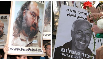 Israelis protest for the release of Jonathan Pollard, November 23, 2005. // Supporters protest, calling for Mordechai Vanunu's release, April 21, 2005.