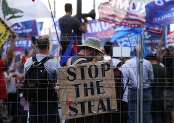 "Supporters of President Donald Trump demonstrate at a ""Stop the Steal"" rally on November 7, 2020 in Phoenix, Arizona."