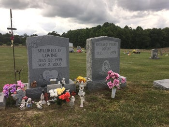 The graves of Richard and Mildred Loving are seen in a rural cemetery near their former home in Caroline County, Virginia. June 7, 2017
