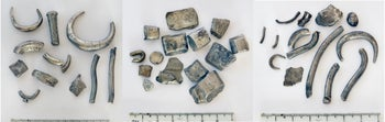 Silver cuts from ingots              used for pre-currency trade found at Beit She'an