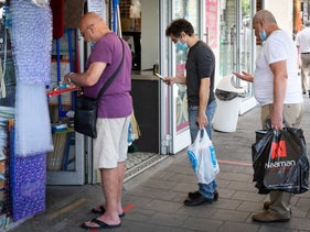 Shoppers in Tel Aviv amid the coronavirus pandemic