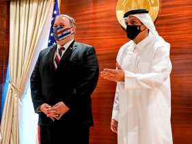 Secretary of State Mike Pompeo, left, meets with Qatari Foreign Minister Mohammed bin Abdulrahman Al-Thani in Doha, Qatar.