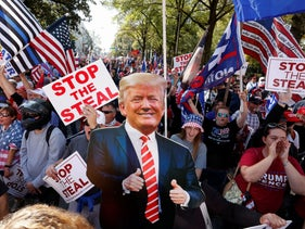 A cutout of U.S. President Donald Trump is pictured as supporters take part in a protest against the results of the 2020 U.S. presidential election in Atlanta, Georgia, November 21, 2020.