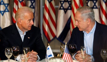 U.S. President-Elect Joe Biden (then-Vice President) and Prime Minister Benjamin Netanyahu, talk before a dinner at the Prime Minister's residence in Jerusalem, March 9, 2010.