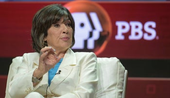 """hristiane Amanpour participates in the """"Amanpour & Co."""" panel during the TCA Summer Press Tour, Beverly Hills, California, July 30, 2018."""