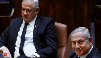Israeli Prime Minister Benjamin Netanyahu and Alternative Prime Minister Benny Gantz during a swearing-in ceremony of the new government in Jerusalem, May 17, 2020