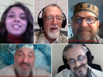 Screenshots taken from archived recordings of virtual services. Clockwise from left: Rebecca Orantes,  Rabbi Roberto Graetz, Martin Hirsch, Edy Huberman and Pablo Schejtman.