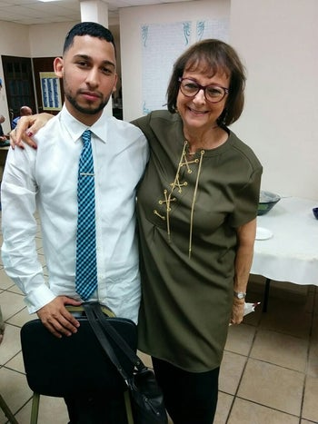Temple Beth Shalom congregant Shula Feldkran pictured in 2015 with Anthony Cruz, who was the rabbi-in-training at the time.