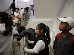 File photo: Children attend an event of solidarity with the children up for deportation the Abraham Hostel in Tel Aviv, February 23, 2019.