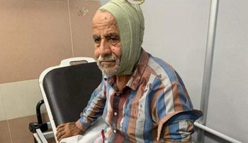 Khalil Abdul-Hak Amira of the village of Na'alin in the hospital in Ramallah after suffering a head wound in the attack, October 2020.