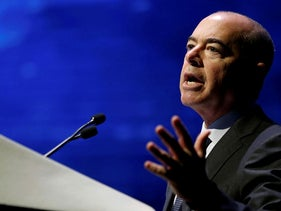 FILE PHOTO: Alejandro Mayorkas, U.S. deputy secretary of homeland security gestures as he speaks during the annual Cyberweek conference at Tel Aviv University, Israel June 20, 2016