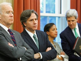 Then-Vice President Joe Biden with Antony Blinken at the White House, with Susan Rice and John Kerry alongside them, November 2013.