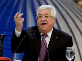 Palestinian President Mahmoud Abbas speaks after a meeting of the Palestinian leadership in the West Bank city of Ramallah, January 22, 2020.
