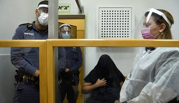 The suspected murderer of Najah Mansour at a court hearing in October 2020