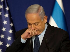 Benjamin Netanyahu pauses during a joint statement with U.S. Secretary of State Mike Pompeo in Jerusalem, Nov. 19, 2020.