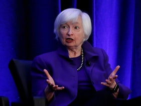 Janet Yellen speaking during a panel discussion at an American Economic Association/Allied Social Science Association meeting in Atlanta, Georgia, January 4, 2019.