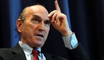 Elliott Abrams, U.S. special representative for Iran, talks during an interview with The Associated Press at the U.S. Embassy in Abu Dhabi, United Arab Emirates, Thursday, November 12, 2020.