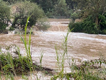 The Hayarkon River in Tel Aviv pictured overflowing this morning, 26 November 2020.