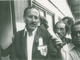 Shmuel Lalkin, head of the Israeli delegation to the Olympic Games at the 1972 Munich Olympics, at a press conference in the Olympic Village after the murder of Israeli athletes.
