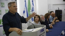 Party chief Nitzan Horowitz speaking at a Meretz press conference in 2019.