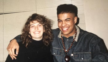Mira and Jeffrey in January 1991, the first night they met.