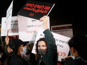 A protest marking International Day for the Elimination of Violence Against Women in Tel Aviv, November 25, 2020.