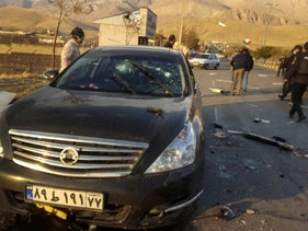 A photo released by the semi-official Fars News Agency shows the scene where Mohsen Fakhrizadeh was killed in Absard, east of Tehran, Iran, November 27, 2020.