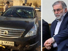 The scene of the attack that killed Mohsen Fakhrizadeh outside Tehran, November 27, 2020, and Fakhrizadeh during a meeting with Iran's supreme leader in Tehran, January 23, 2019.