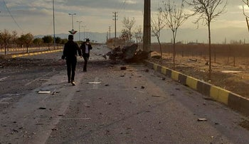 A handout photo made available by Iran state TV (IRIB) on November 27, 2020, shows the damages after an attack targeted the car of Iranian nuclear scientist Mohsen Fakhrizadeh near the capital Tehran.