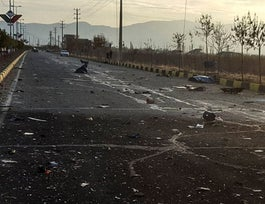 This photo released by the semi-official Fars News Agency shows the scene where Mohsen Fakhrizadeh was killed in Absard, a small city just east of the capital, Tehran, Iran, November 27, 2020.