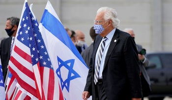 David Friedman departs as Mike Pompeo (not pictured) boards a plane at Ben-Gurion Airport in Tel Aviv, November 20, 2020.