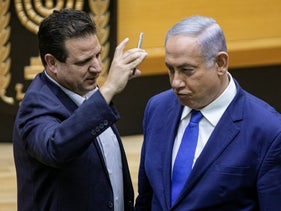 Joint List Chairman Ayman Odeh and Prime Minister Benjamin Netanyahu in the Knesset, September 11, 2020.