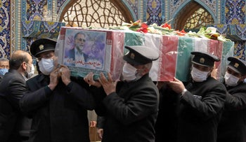 The coffin of Iran's assassinated top nuclear scientist Mohsen Fakhrizadeh during his funeral procession in the northeastern city of Mashhad. November 29, 2020