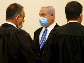 Netanyahu at the start of his criminal trial in Jerusalem, May 2020