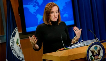 In this file photo taken on February 20, 2015 US State Department spokeswoman Jen Psaki delivers a daily briefing at the US State Department in Washington, DC.