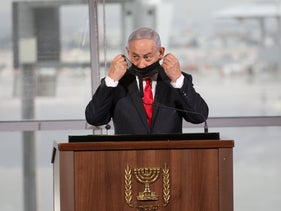 Netanyahu at a reception in November for the landing of a first jet from Dubai at Israel's Ben-Gurion Airport.