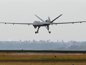 Predator B unmanned aircraft landing after a mission, at the Naval Air Station, in Corpus Christi, Texas.