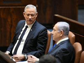 Alternate Prime Minister Benny Gantz and Prime Minister Benjamin Netanyahu in the Knesset in Jerusalem, May 17, 2020.