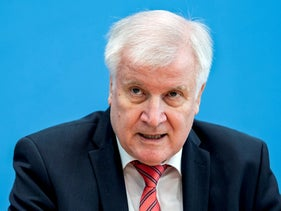 German Interior Minister Horst Seehofer attends a news conference on Germany's national cyber defence report 2020 in Berlin, Germany, October 20, 2020