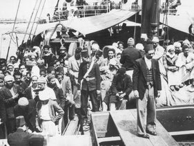 Arab refugees from Haifa disembarking at Port Said, Egypt, May 3, 1948.