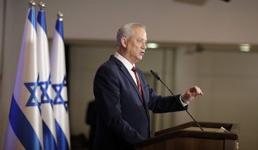 Benny Gantz speaks during a press conference in Ramat Gan, central Israel, December 1, 2020.