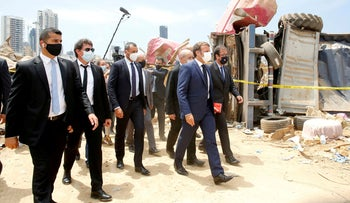 French President Emmanuel Macron visits the devastated site of the explosion at the port of Beirut, Lebanon August 6, 2020.