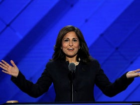 Center for American Progress Action Fund president Neera Tanden speaks on the third day of the Democratic National Convention in Philadelphia, Pennsylvania