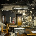 Tables and chairs stand in the burned out, Jewish-run Morgen wird Besser bar, in Berlin, August 21, 2020.