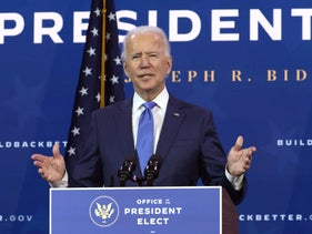 U.S. President-elect Joe Biden speaks during an event to name his economic team at the Queen Theater in Wilmington, Delaware, December 1, 2020.