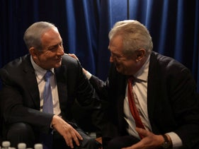 Prime Minister Benjamin Netanyahu meeting with Czech President Milos Zeman at the AIPAC policy conference in Washington DC, US.