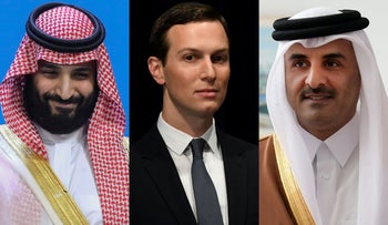 Saudi Arabia's Crown Prince Mohammed bin Salman (left), senior U.S. advisor Jared Kushner (center) and Qatar's Emir Sheikh Tamim bin Hamad al-Thani.