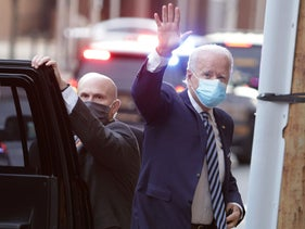 U.S. President-elect Joe Biden arrives at the Queen Theater to participate in the CNN interview, December 3, 2020 in Wilmington, Delaware